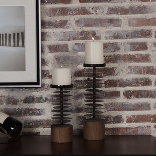 Danya B. Set of 2 Eucalyptus Metal and Wood Candle Holders