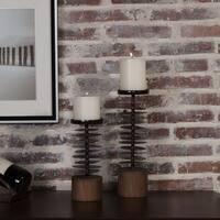 Danya B. Set of 2 Eucalyptus Metal and Wood Candle Holders