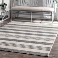 Havenside Home Butler Power-Loomed Geometric Stripes Grey Area Rug - 6'7 x 9'