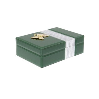 Studio 350 Wood Glass Jewelry Box 8 inches wide, 3 inches high