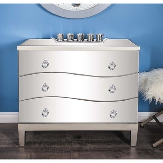 Contemporary 32 x 34 Inch Wood and Mirror Chest by Studio 350
