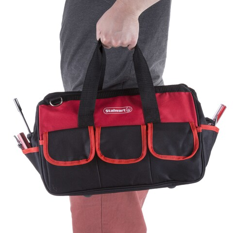 Soft Sided Tool Bag With Wide-Mouth Storage - Durable 12 Inch Pouch for Tools and Organization By Stalwart (Red)
