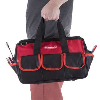 Soft Sided Tool Bag With Wide-Mouth Storage - Durable 12 Inch Pouch for Tools and Organization By Stalwart (Red)|https://ak1.ostkcdn.com/images/products/17290770/P23540755.jpg?impolicy=medium