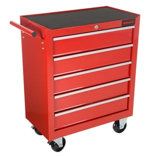 Rolling Tool Box Cabinet, 5 Drawer Portable Storage Chest Tools Organizer With Wheels By Stalwart (Red)