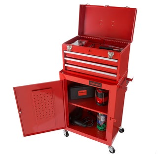 Rolling Tool Box Cabinet, 3 Drawer Portable Storage Chest Tools and Garage Organizer With Wheels By Stalwart (Red)