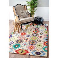 nuLOOM Handmade Southwestern Abstract Honeycomb Wool Cream Rug - 8'6 x 11'6