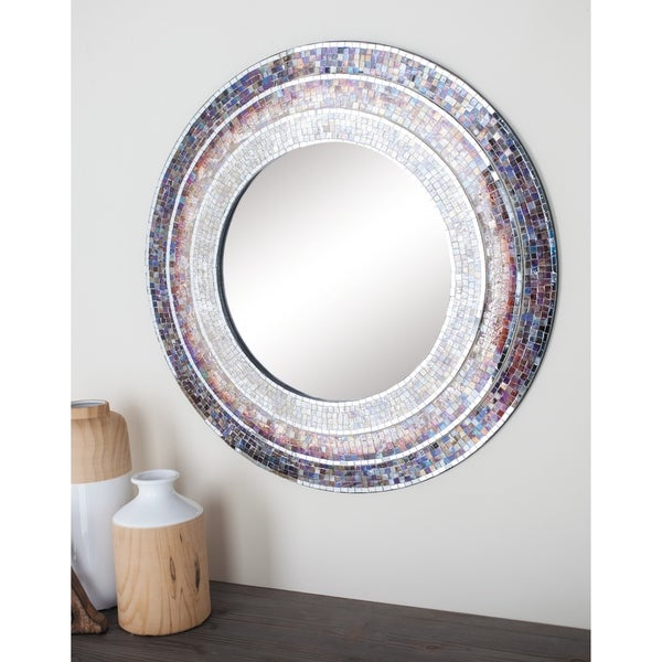 Traditional 30 Inch Round Wooden Mosaic Wall Mirror by Studio 350 - Multi