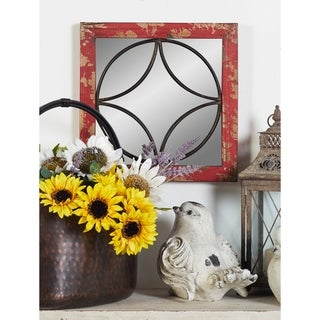 Studio 350 Wood Metal Mirror Wall Set of 4, 15 inches wide, 15 inches high