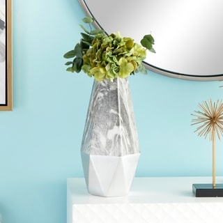 """Large Contemporary Style Gray Marble & Silver Ceramic Vase with Geometric Silhouette 6"""" x 14"""""""