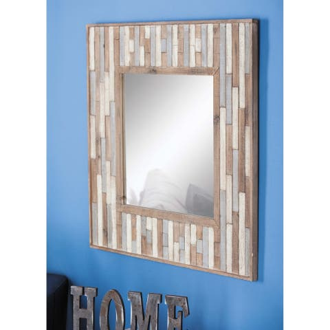 Modern 32 x 32 Inch Square Slat-Style Wood Wall Mirror by Studio 350 - Brown