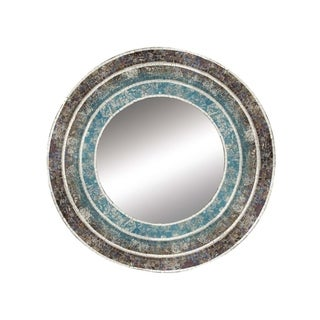 Studio 350 Wood Turquoise Mosaic Wall Mirror 30 inches D