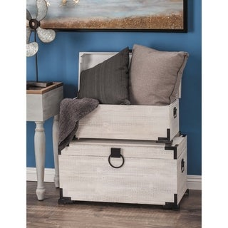 Link to Set of 2 Farmhouse 13 and 16 Inch White Wooden Trunks by Studio 350 Similar Items in Home Office Furniture