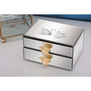 Studio 350 Wood Mirror Jewerly Box 6 inches wide, 3 inches high