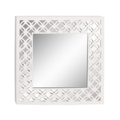 Studio 350 Wood Wall Mirror 31 inches wide, 31 inches high - White