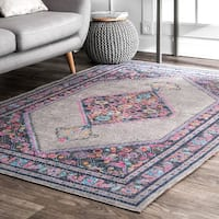 nuLOOM Vintage Persian Border Grey Rug (9' x 12')