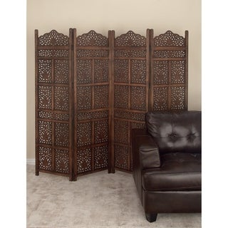 Traditional 72 Inch Flourished Wooden 4-Panel Screen by Studio 350