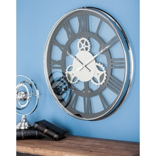 Modern 30 Inch Round Black Metal Wall Clock by Studio 350