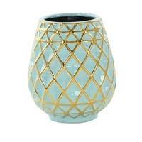 Havenside Home Buckroe Blue/ Gold Geometric Ceramic Vase (7'' X 8'')