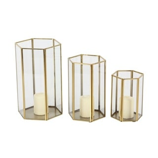 Studio 350 Metal Glass Candle Holder Set of 3, 6 inches, 8 inches, 10 inches high