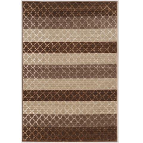 Evolution Collection Trellis Stripes Brown Rug
