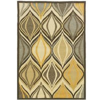 Hand Tufted Le Soleil Outdoor Collection Cat Eye Yellow and Blue Rug (5' x 7')