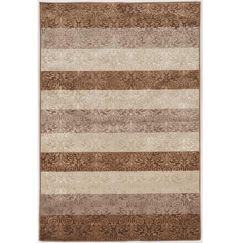 Evolution Collection Damask Stripes Brown Rug