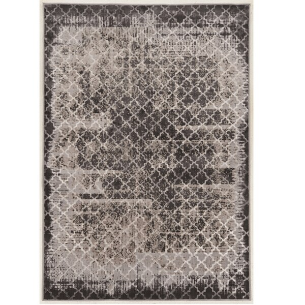 Evolution Collection Trellis Distressed Vintage Grey Rug (2' x 3')
