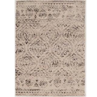 "Hand Tufted Antique Vintage Collection Lila Cream and Brown Rug (1'10"" X 2'10"")"