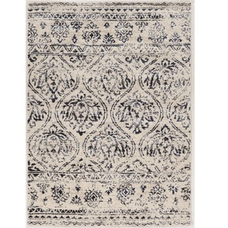Hand Tufted Antique Vintage Collection Lila Ivory and Navy Rug (1'10 x 2'10)