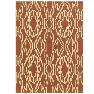 Hand Tufted Le Soleil Outdoor Collection Ikat Rust and Cream Rug (5' X 7')