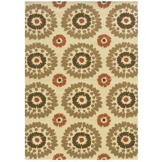 Hand Tufted Le Soleil Outdoor Collection Medallions Ivory and Rust Rug (5' X 7')