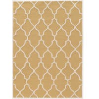 Hand Tufted Trio Collection Geo Trellis Goldenrod and Cream Rug (5' x 7')