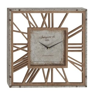 Studio 350 Metal Wood Wall Clock 22 inches wide, 22 inches high