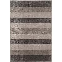 Evolution Collection Damask Stripes Grey Rug