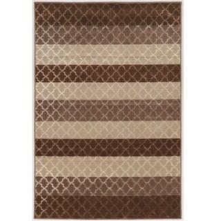 Evolution Collection Trellis Stripes Brown Rug (8' X 10')