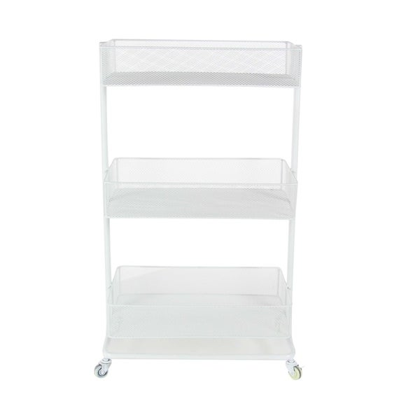 Studio 350 Metal White Basket Cart 21 inches wide, 35 inches high