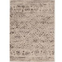 Hand Tufted Antique Vintage Collection Lila Cream and Brown Rug (8' x 10')