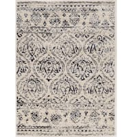 Hand Tufted Antique Vintage Collection Lila Ivory and Navy Rug - 8' x 10'