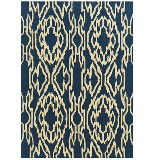 Hand Tufted Le Soleil Outdoor Collection Ikat Blue and Cream Rug - 8' X 10'