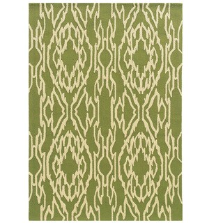 Hand Tufted Le Soleil Outdoor Collection Ikat Green and Cream Rug - 8' X 10'