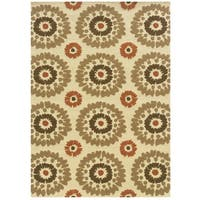 Hand Tufted Le Soleil Outdoor Collection Medallions Ivory and Rust Rug (8' X 10')