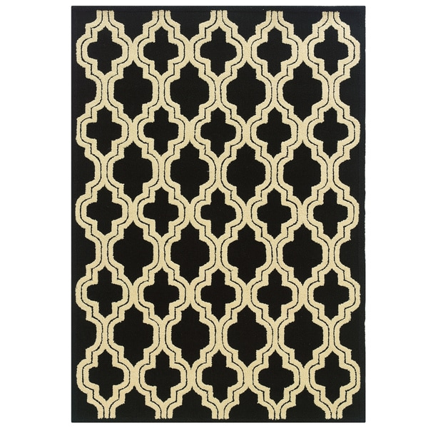 Shop Hand Tufted Le Soleil Outdoor Collection Quatrefoil Black And Cream Rug  (8u0027 X 10u0027)   8u0027 X 10u0027   Free Shipping Today   Overstock   17291393