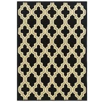 Hand Tufted Le Soleil Outdoor Collection Quatrefoil Black and Cream Rug (8' x 10')