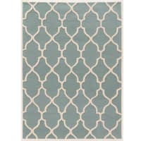 Hand Tufted Trio Collection Geo Trellis Turquoise with Cream Rug (8' X 10')