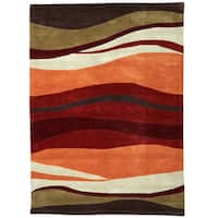 Hand Tufted Trio Collection Tectonic Red & Orange Rug (8' x 10')