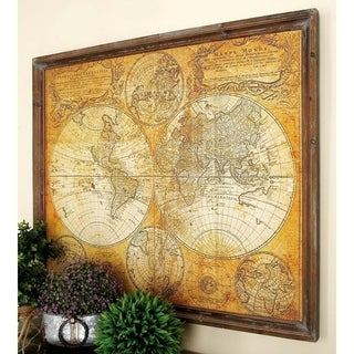 Studio 350 Wood World Map Decor 41 inches wide, 34 inches high
