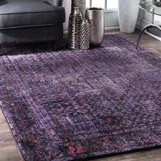 nuLoom Traditional Distressed Oriental Gothic Medallion Border Dark Purple Rug (5'3 x 7'8)