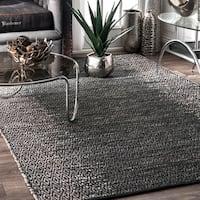 nuLOOM Grey Leather Handmade Area Rug