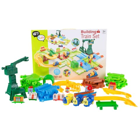 Hey! Play! 58-piece Plastic Deluxe Train Set with Adjustable Tracks and Battery