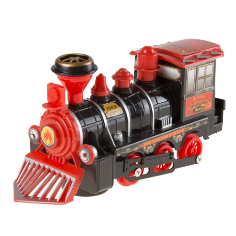 Hey! Play! Locomotive Engine Car with Battery-Powered Lights Toy Train